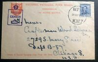 1943 New Zeland Censored On Active Service OAS Cover to Chicago IL USA
