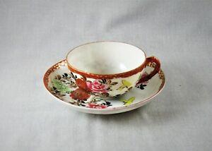 Early Japanese eggshell cup saucer Kutani? Imari? flowers butterfly enamel