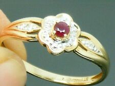 9ct Gold Ruby & Diamond Hallmarked Cluster ring size R