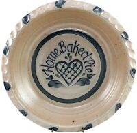 Rowe Pottery Home Baked Pie Dish Plate Heart Salt Glaze Hand Painted Cambridge