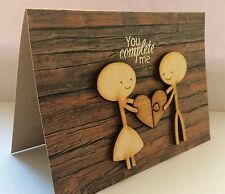 'You complete me' stick people handmade valentines / romantic / love wooden card