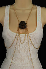 Women Gold Metal Body Chains Fashion Jewelry Harness Pool Necklace Buddha Charm