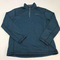 Eddie Bauer Jacket Mens L Blue Black 1/4 Zip Up Mock Neck Insulated Pullover