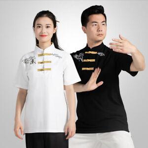 Cotton Martial Arts Taichi T-Shirt Shirts Tops Kung Fu Wingchun Training Clothes