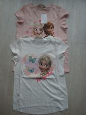 2x T-Shirt * Shirt * weiß rosa * FROZEN Anna & Elsa * Gr. 134 140 * H&M * Neu