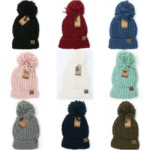 CC Beanie Solid Chenille Knit Hat Cap with Pom