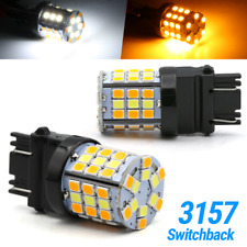 New 3157 LED Switchback Turn Signal DRL Parking Light Bulbs White/Amber