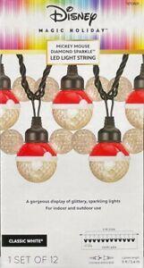 "12 Disney Magic Holiday ""Diamand Sparkle Clear Mickey Mouse Ear LEDs"