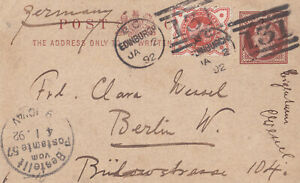 1892 QV EDINBURGH POSTCARD WITH AN ORANGE JUBILEE STAMP SENT TO BERLIN GERMANY