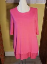 Soft Surroundings M Pink Knit Top w/ Silky Bottom Band