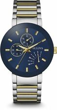 Bulova 98C123 Two Tone Stainless Steel Blue Dial Day Date Men's Watch  Brand New