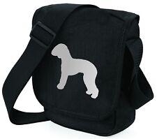 More details for bedlington terrier bag silver dog on black shoulder bags handbags mothers day