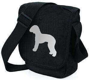 Bedlington Terrier Bag Silver Dog on Black Shoulder Bags Handbags Mothers Day