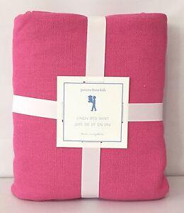 "NEW Pottery Barn KIDS Linen TWIN Bedskirt w/16"" Drop~BRIGHT PINK"