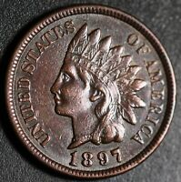 1897 INDIAN HEAD CENT -With LIBERTY & Near 4 DIAMONDS - AU UNC
