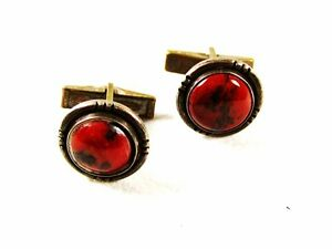 Sterling Silver Red Onyx Cufflinks Unbranded 32216