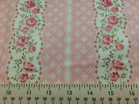 Shabby Chic Pink Floral Stripe Rose Stripes Cotton Fabric Yard Fat Quarter t1/1