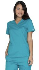 2 Piece Set Cherokee Workwear Core Stretch Xs Cargo Pants & Small Top Teal Blue