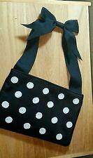Inge Christopher Silk Black White Beaded Evening Bag Clutch Wristlet Purse EUC