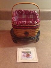 Longaberger 2001 All American Colection Strawberry Basket Liner Protector Tie-On