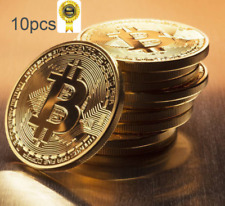10PCS Gold Plated Bitcoin Coin Collectible Gift BTC Coin Art Collection Physical
