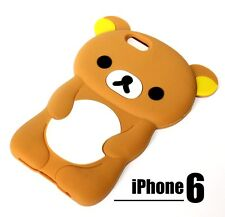 For iPhone 6 / 6S - SOFT SILICONE GUMMY RUBBER SKIN CASE COVER BROWN TEDDY BEAR