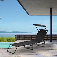 [casa.pro]® Sonnenliege 190cm schwarz mit Sonnendach Gartenliege Strand Liege