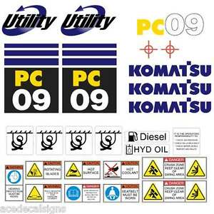 Komatsu PC09  Decals Stickers, repro Kit for Mini Excavator