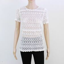 Jack Wills Womens Size 8 White Floral Lace Short Sleeve Top