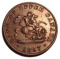 OLD Canadian Coins 1857 HALFPENNY BANK TOKEN Breton 720 Dragon Slayer