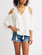 NWT White Cold Shoulder Crochet Front, Bell Sleeve Top With Tassels Ties Size M