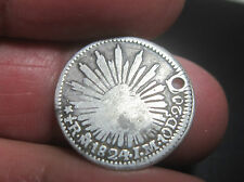 """1824 J.M (MEXICO ) 1/2 REAL (SILVER)-- """"HOOK NECK EAGLE """" RARE** --ONE YEAR----"""