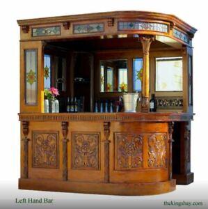 Corner Bar Tavern with Tiffany Glass and Mirrors English Pub Left Hand
