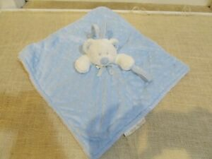 Blankets and Beyond Bear Blue White Baby Security Blanket Lovey Plush Minky