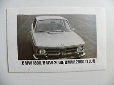 Brochure BMW 1800 / 2000 / 2000 Tilux de 08 / 1968
