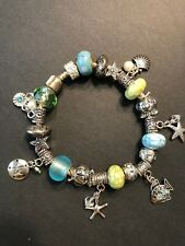 European Style with Turquoise and Green Beads and Beach Charms - Handmade USA