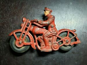 Vintage Unmarked Cast Iron Patrol Motorcycle from estate