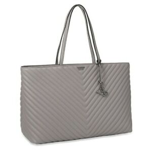 Victoria's Secret Pebbled V-Quilt Everything Tote, Gray, NWT