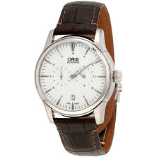 Oris Artelier Regulateur Automatic Silver Guilloche Dial Mens Watch