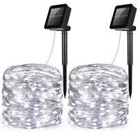 2pcs_20m 200&LED Solar Strip Fairy Copper Wire String Lights Xmas Party Decor
