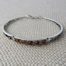 Genuine Cognac / Brown BALTIC AMBER Bangle in solid 925 STERLING SILVER #0043