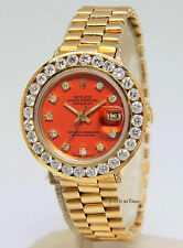 Rolex Vintage Datejust 18k Yellow Gold Orange Diamond Ladies Watch 6517