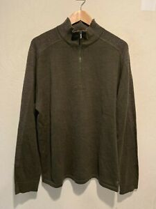 Smartwool Men's Quarter Zip Merino Wool Sweater Jacket Size XL Green *SEE PHOTOS
