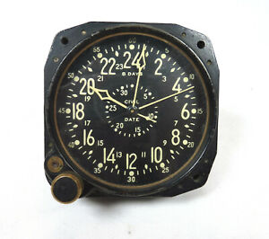 Vintage WW2 Waltham CDIA 8 Day Military Aircraft Clock Working Condition