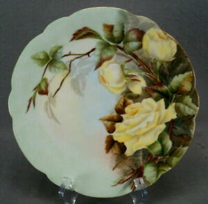 D&Co Limoges Hand Painted Yellow Roses & Gold 8 5/8 Inch Plate Circa 1891-1896