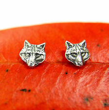 Wolf Face Stud Earrings Sterling Silver Grey Wolf Pack Post Earrings Animal 476