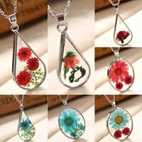 Transparent Resin Dried Daisy Flower Pendant Necklace Waterdrop Chain Jewelry