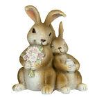 Polystone Easter Couple of Bunnies Figurine Handmade Statue Gift Decor China