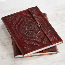 Indra Fair Trade Handmade XL Embossed Leather Photo Album Scrapbook