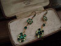 Vintage Peridot & Emerald Green Square Crystal Long Drop Hook Pierced Earrings